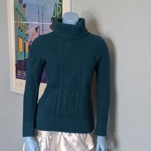 L.L. Bean Teal Fisherman's Turtleneck Sweater